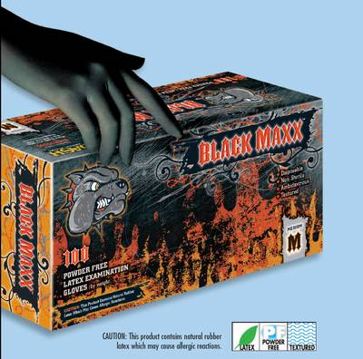 Black Maxx Latex* Powder Free Latex Exam Glove, Textured,100/bx ,10 bx/cs, $1 for shipping
